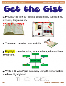 The Get the Gist strategy assists students in finding the main idea by helping them to limit the number of words and focusing on important ideas.