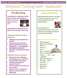 Reciprocal Teaching encourages students to develop the skills that effective readers and learners do automatically - summarise, question, clarify, predict and respond to what they are reading.