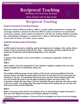 The Reciprocal Teaching strategy supports the development of four key literacy and learning skills: Predicting, Questioning, Clarifying and Summarising.