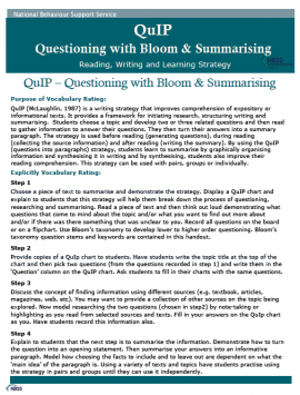 Use the QUip strategy to develop questioning and summarising skills. Check out the 'Publications' section for lots more strategies to enhance teaching and learning.