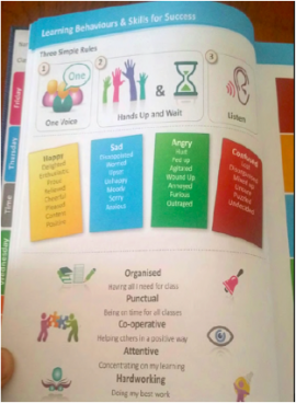 Many NBSS partner school include visuals reminders of the NBSS behaviour for learning skills in their school journal.